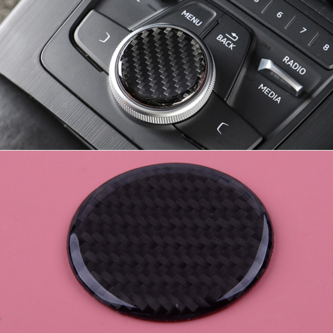 Carbon Fiber Black Car Multi-Media Control Knob Decor Sticker Fit For Audi A3 S3 8V 2014 2015 2016 2017 2018 2019 image
