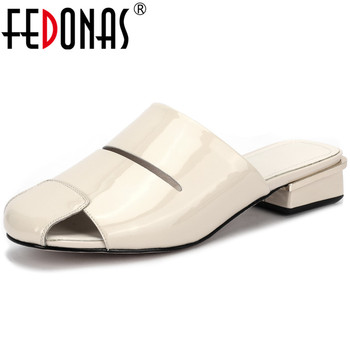 FEDONAS Slingbacks Concise Genuine Leather Women Mules Casual Thick Heels Pumps 2020 Spring Summer Party Office Shoes Woman