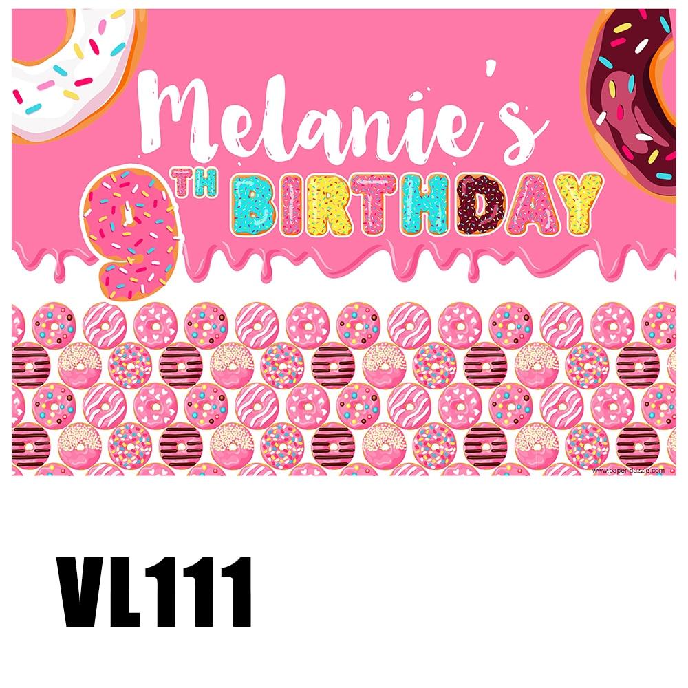 Personalizado festa de aniversário da menina backdrops donut crescer fundos doces foto cabine retrato cartaz cena setter papel de parede