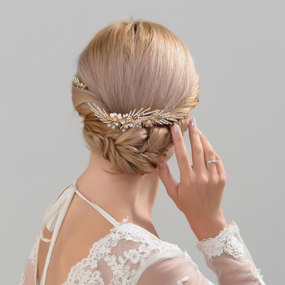 TRiXY H01- Set vintage bridal hair comb Wedding Accessories Rhinestones Pearls Bridal Accessories for Wedding/ Evening Party