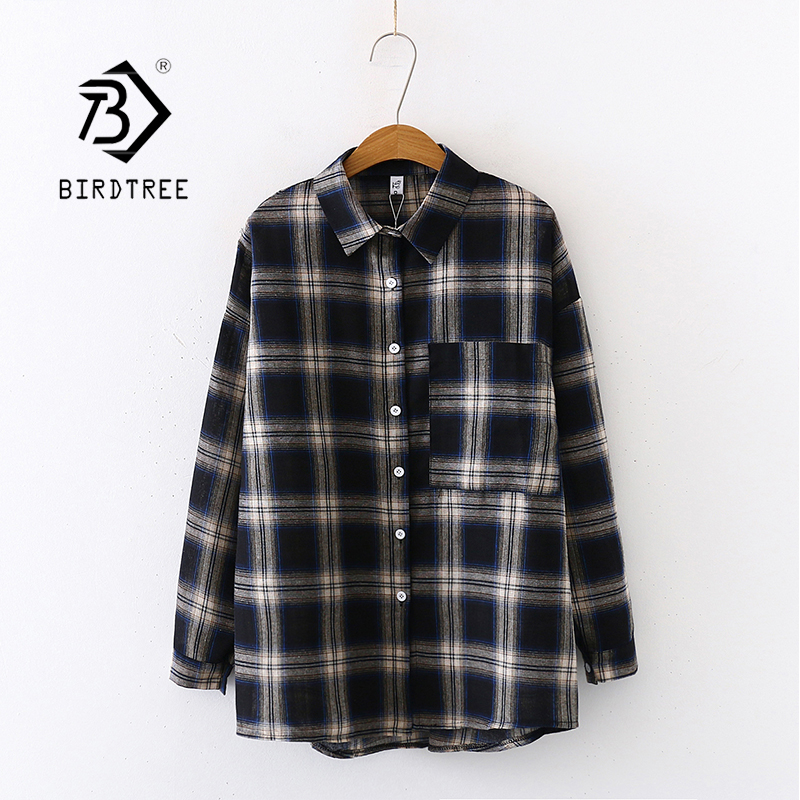 New Arrival Women Vintage Plaid Oversize Blouse Batwing Sleeve Turn Down Collar Loose Long Shirt Button Up Casual Top T04810F