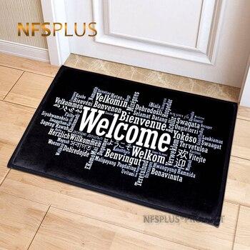 Witamy wycieraczka wycieraczka przedpokój prosta czarna biała z nadrukiem antypoślizgowa mata podłogowa dywaniki śmieszne niestandardowe frontowe drzwi mata dywan