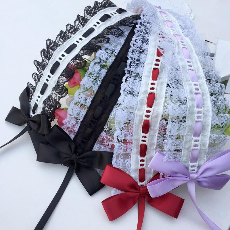 Лолита головной убор японский мягкий девушка украшение волос сладкий кружева Лори волосы с KC темной лентой лук|Аксессуары для костюмов|   | АлиЭкспресс