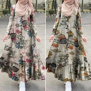 Women's Autumn Sundress ZANZEA 2020 Turkish Printed Ruffle Dress Vintage Floral Maxi Vestidos Dubai Female Button Islam Robe