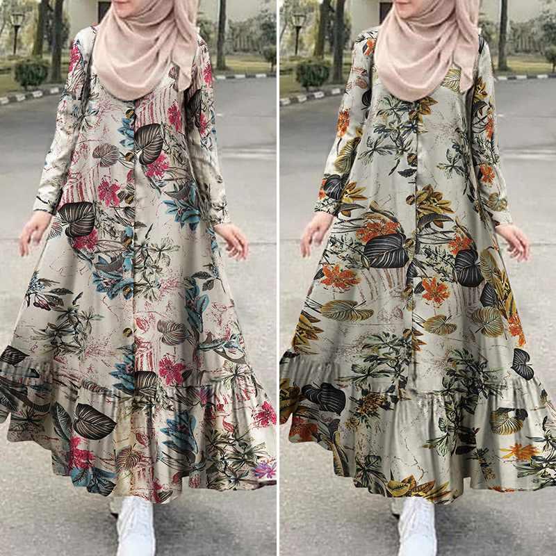 Women s Autumn Sundress ZANZEA 2021 Turkish Printed Ruffle Dress Vintage Floral Maxi Vestidos Dubai Female