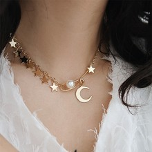 Korean Statement Gold Star Moon Pendant Choker Charm Pearl Necklace for Women Fashion Jewelry Gift Bijoux Collares De Moda 2019(China)