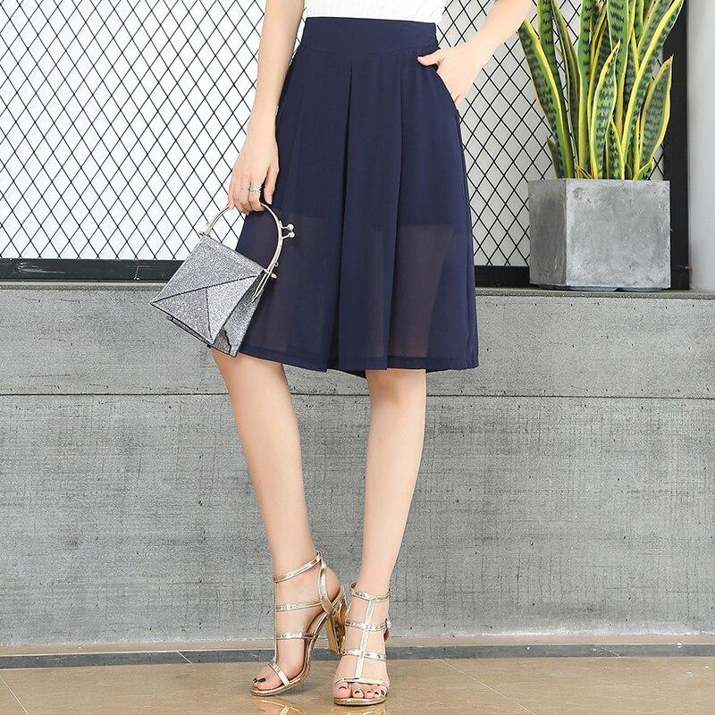 New Shorts Women Chiffon Shorts Skirts Femme Womens Breathable Ladies Fashion Half-length High Waist Wide Leg Loose Shorts