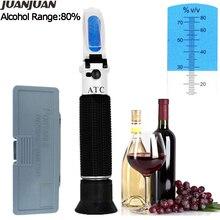 Verificador portátil do índice do licor do refratômetro do álcool do alcoholômetro 0 80% com ferramenta varejo da medida do vinho da caixa 35% de desconto