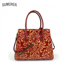 SUWERER NEW cowhide leather shoulder bag women luxury handbags women bags genuine cowhide leather bags women tote bag real cow tomubird 2018 new women genuine leather bag handmade embossing flower top cowhide luxury tote women leather shoulder bags