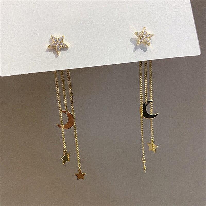 Zeojrlly новые модные женские серьги-подвески в виде Луны, Корея, звезда, луна, длинные серьги с кисточками, женские корейские ювелирные изделия