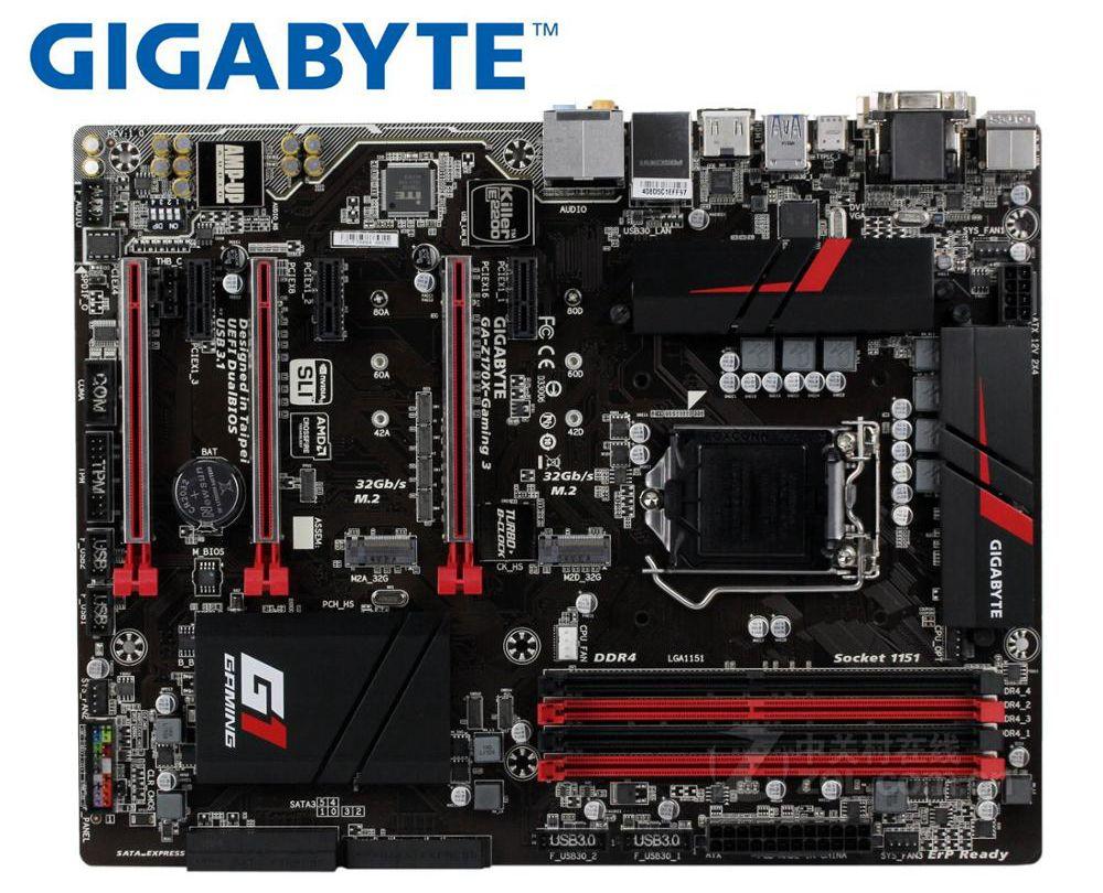 Gigabyte GA-Z170X-GAMING 3 Desktop Motherboard DDR4 LGA 1151 USB3.0 USB3.1 Z170X-GAMING 3 Z170 USED Mainboard