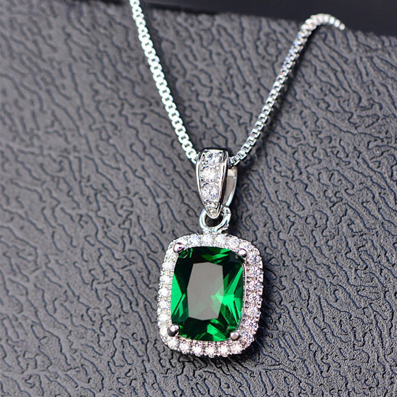 PANSYSEN Classic Natural Emerald Amethyst Citrine Pendant Necklaces For Women 925 Sterling Silver  Necklace Anniversary Gifts