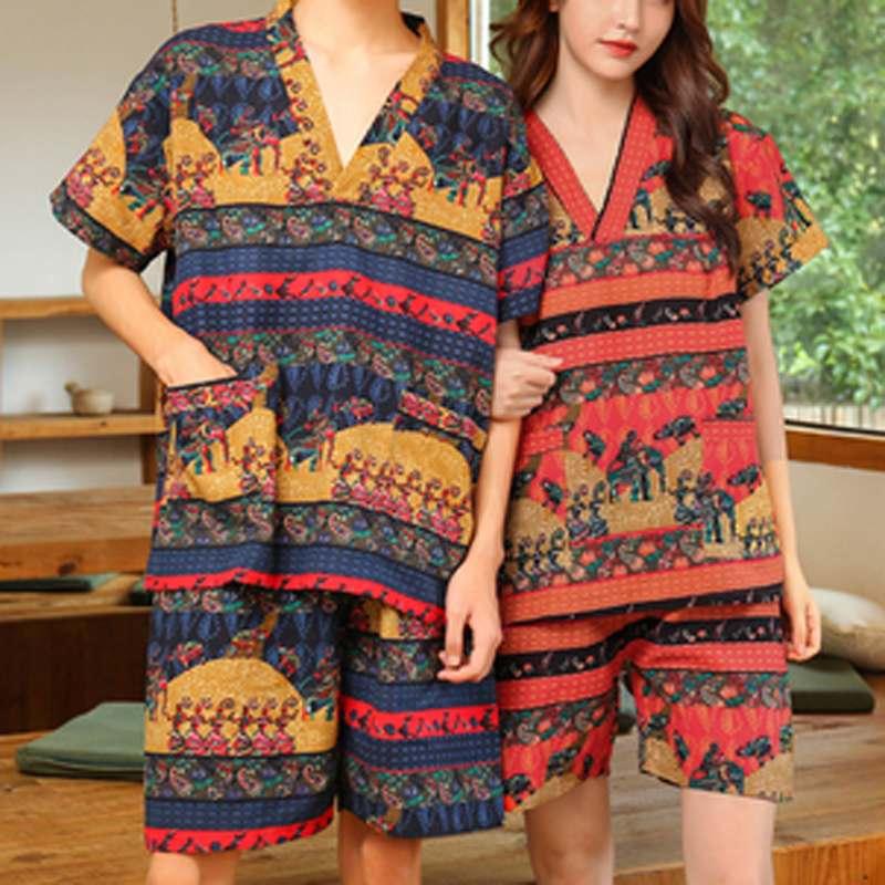 INCERUN 2021 Summer Men Printed Pajamas Sets Loose Short Sleeve V Neck Tops Leisure Shorts Cotton Sleepwear Kimono Unisex Suits