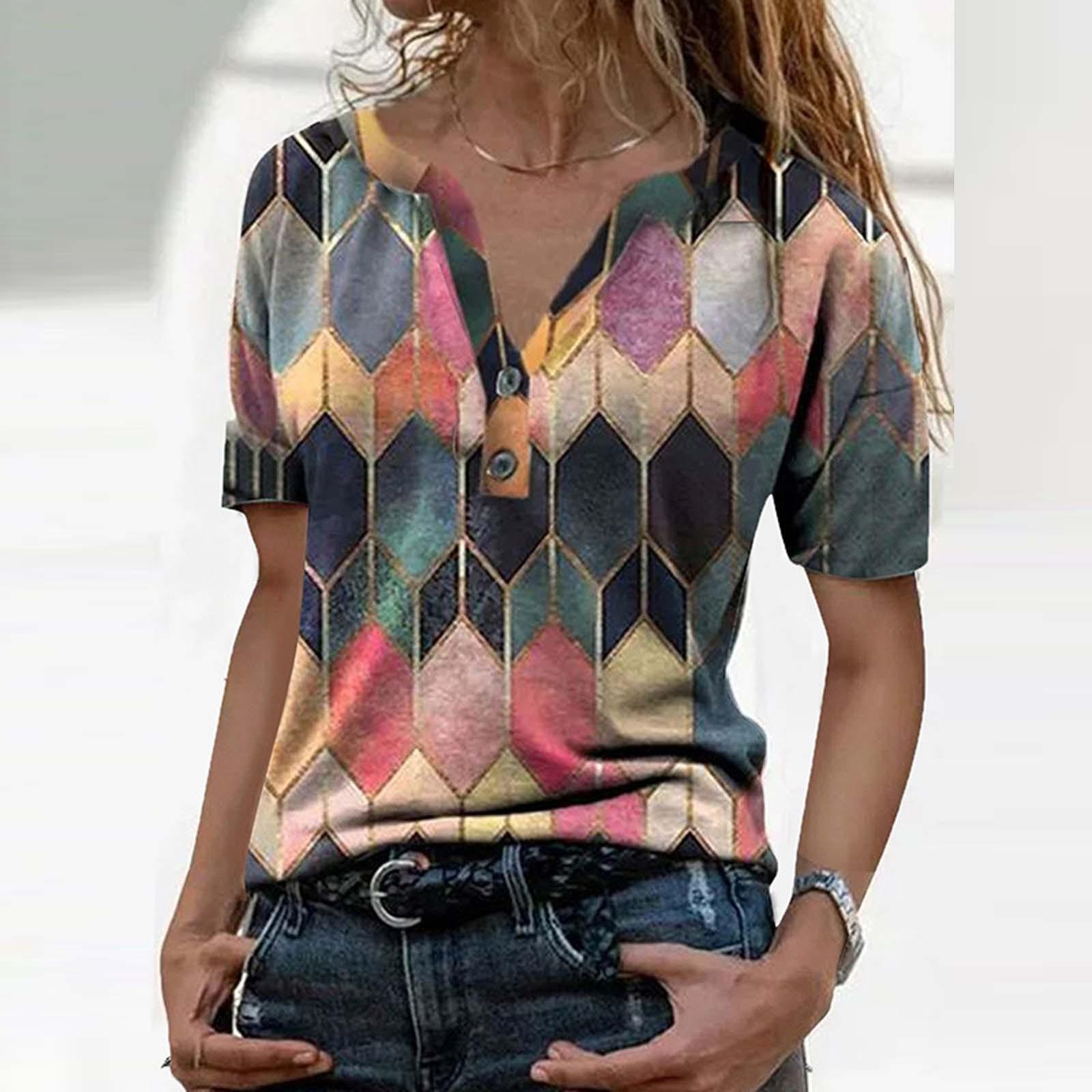 4# Women's Summer V neck Blouses Printed Short Sleeve V  Neck Collar Tops Shirts Vintage Office Lady Рубашка Женская Блузка