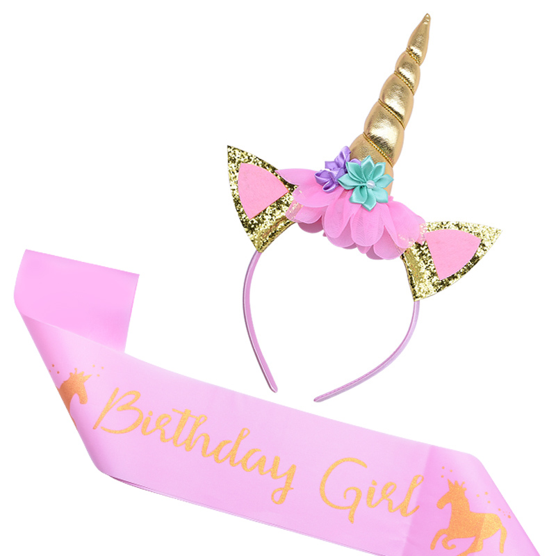 Birthday Girl Unicorn Headband With Sash Unicorn Cake Topper Baby Shower Girl Birthday Party Decorations Unicorn Party Supplies