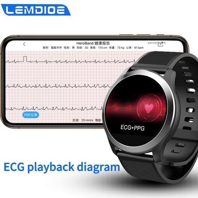 LEMDIOE ecg ppg smart watch men waterproof  IP68 heart rate detection ECG measurement health watch for apple ios android