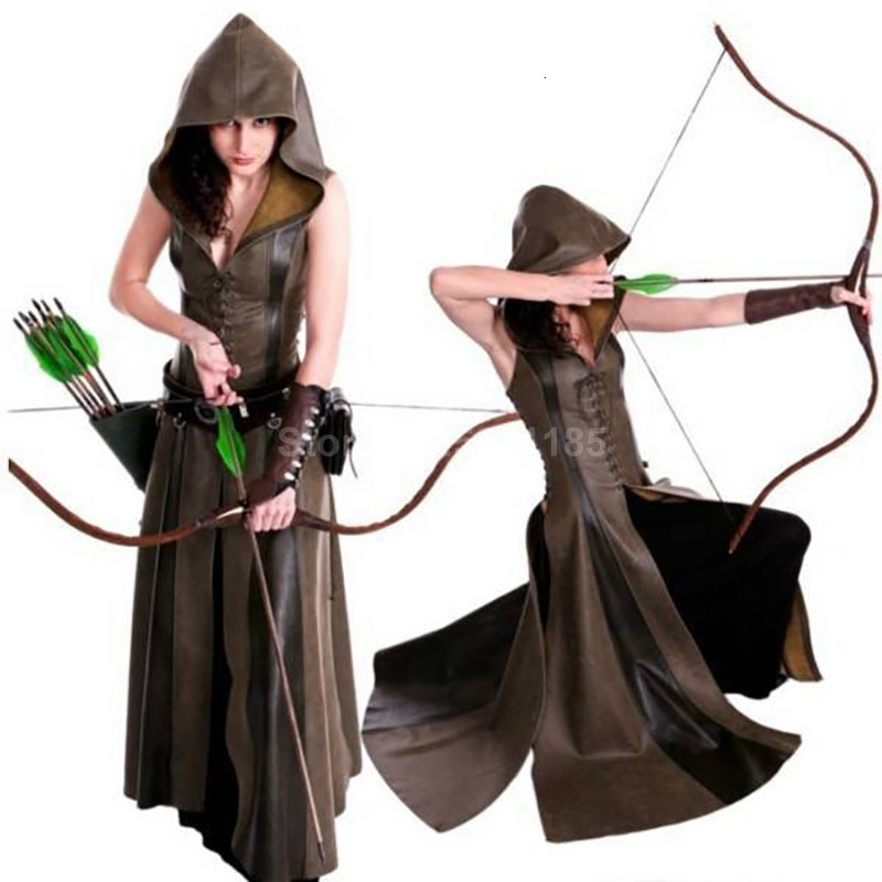 Medieval Gothic Ranger Hunter Cosplay Costume Women Larp Archer Maxi Steampunk Dress Hooded Cloak Lace-Up Leather Gown Long Robe