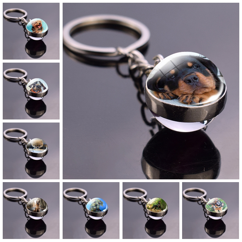 German Shepherd Dog Angel Key Ring Pet Dog Jewelry Charm Double Sided Glass Ball Keychain Animal Dog Cute Fashion Accessories