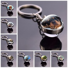 German Shepherd Dog Angel Key Ring Pet Dog Jewelry Charm Double Sided Glass Ball Keychain Animal Dog Cute Fashion Accessories(China)