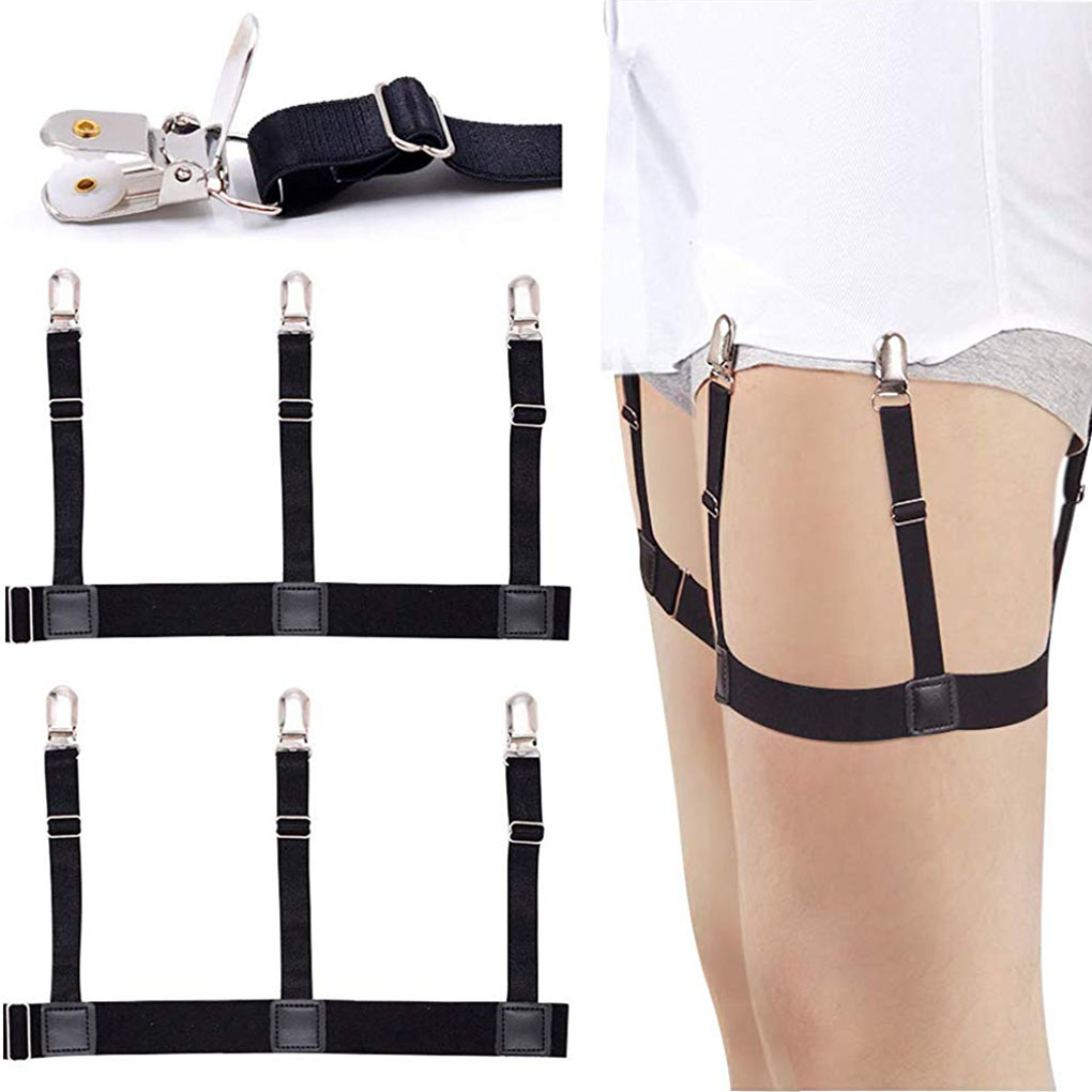 Mens Shirt Stays Adjustable Elastic Shirt Garters Suspenders Shirt Holders Straps Non-slip Locking Clamps For Police Military