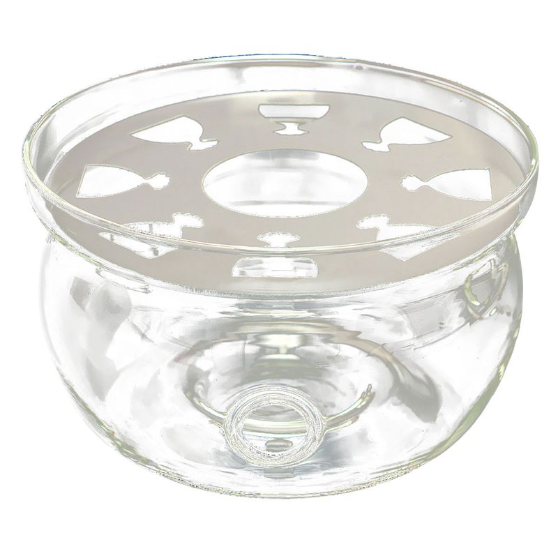 ABUI-Heat-Resisting Teapot Warmer Base Clear Glass Round Shape Insulation Tealight