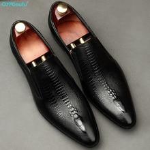 Handmade Mens Wedding Oxford Shoes Black Khaki Genuine Leather Brogue Men's Dress Shoes Slip On Business Formal Shoes For Men