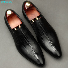 Oxford-Shoes Slip-On Brogue Handmade Business Wedding Black Genuine-Leather Men Men's