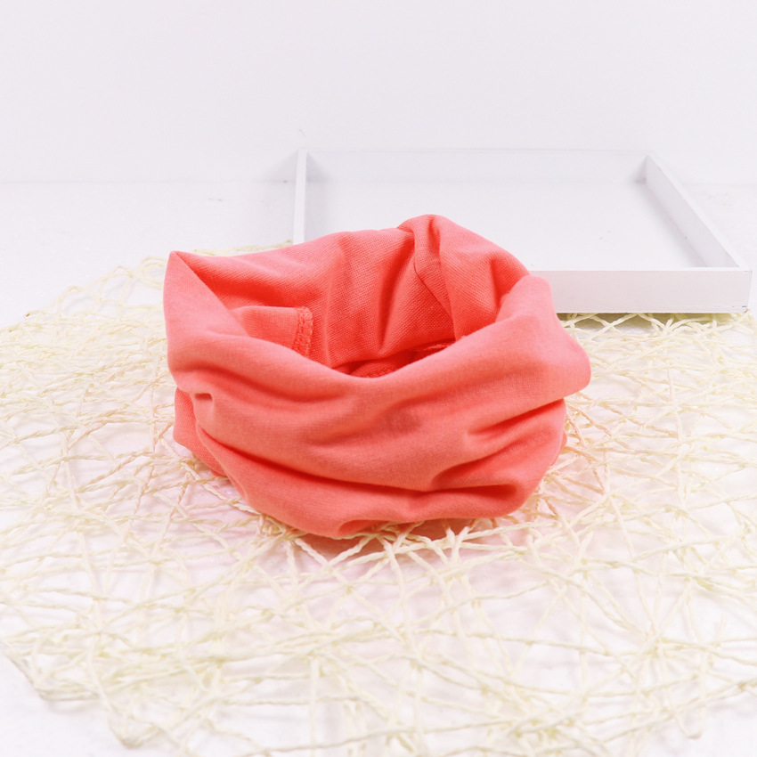 Милый хлопковый детский шарф, Детские однотонные осенне-зимние теплые шарфы с принтом, шарф с круглым вырезом для мальчиков и девочек - Цвет: 19
