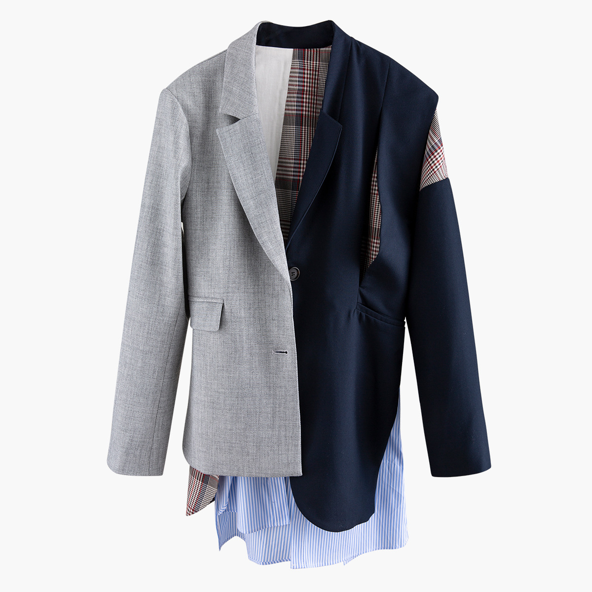 IHOBBY Women Spring Patchwork Blazers Fashion New Irregular Long Sleeve Hit Color Blazer Female Top Coat