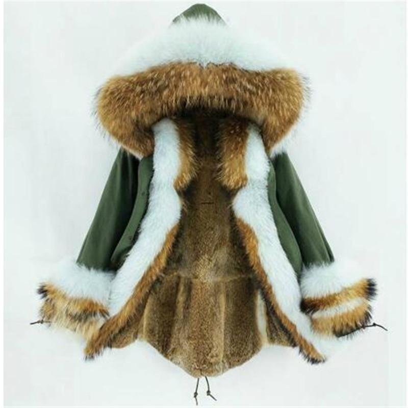 2019 New Women Real Fur Coat Winter Jacket Rabbit Fur Liner Thick Warm Natural Raccoon Fur Fox Fur Collar Hood Cuffs Long Parka