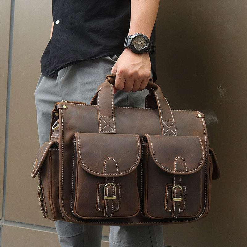 MAHEU Vintage Fashion Leather Handbags For Men Shoulder Bag Genuine Leather Multifunctional Briefcase Bag  Business Tote Bag