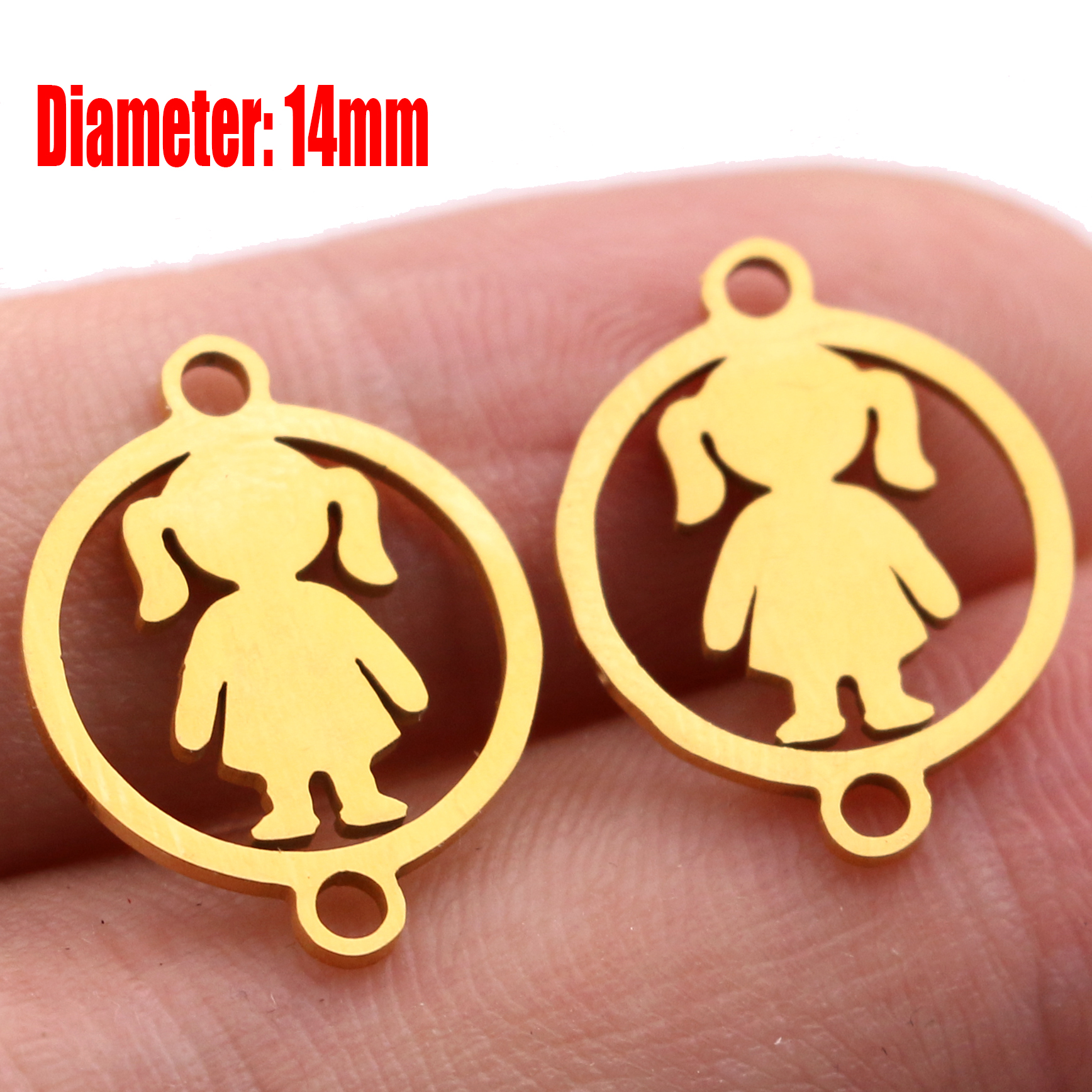 5pcs Family Chain Stainless Steel Pendant Necklace Parents and Children Necklaces Gold/steel Jewelry Gift for Mom Dad New Twice - Цвет: Gold 13