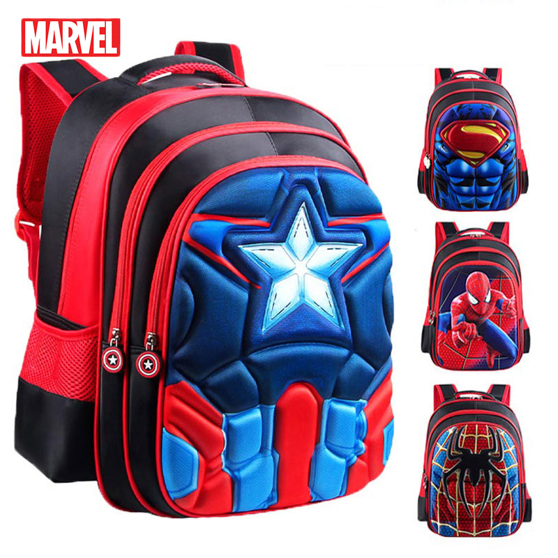 MARVEL Superman Batman Spiderman Schoolbags Captain America Boy Girl Children School Bags Student Backpack For Young Peoople