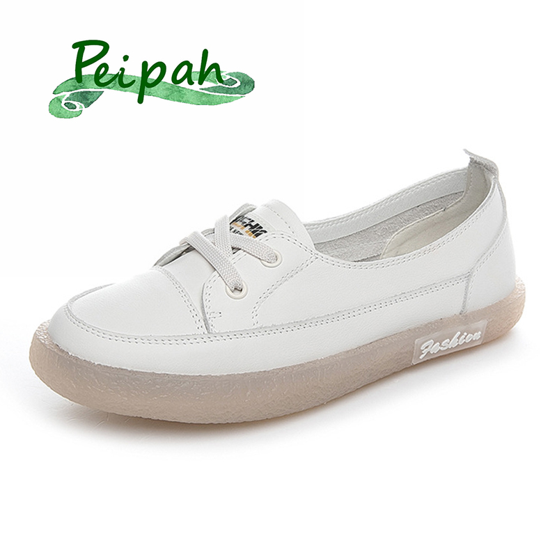 PEIPAH Women's Sweet Sneakers Genuine Leather Shoes Woman Lace-Up Solid Ballet Flats Female Refreshing Footwear Ladies Shoes