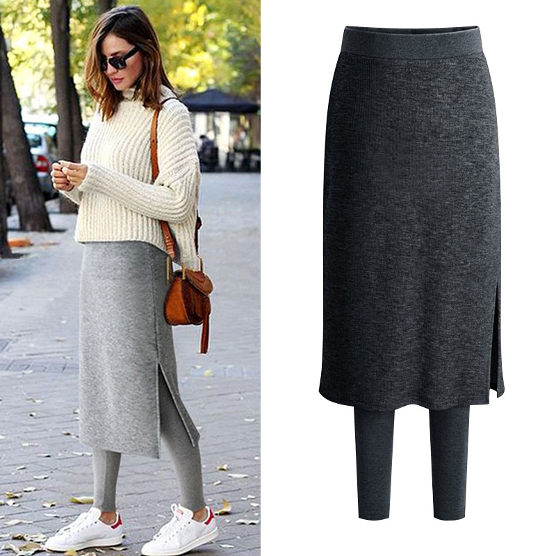 Plus Velvet Skirt Of Mock Two-Piece Leggings Skirt One-piece Women's Outer Wear Autumn And Winter Skirt Mid-length Warm Culottes