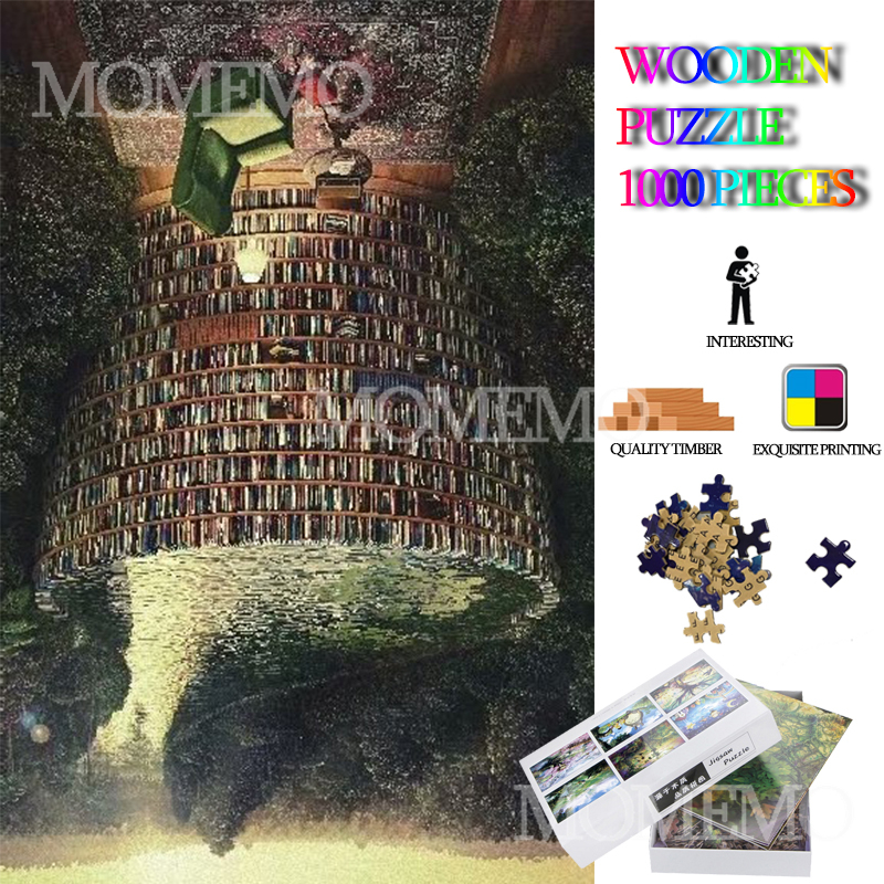 Bookshelf Wooden Jigsaw Puzzles For Adults 1000 Pieces Wooden Puzzle DIY Assembly Toys Kids Teens Educational Wooden Puzzle Game
