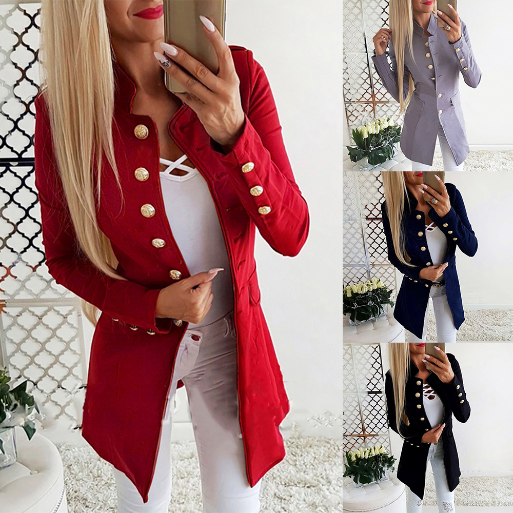 CYSINCOS Winter Long Jacket Women 2020 Fall Office Lady Lapel Suit Button Coat Plus Size Ladies Chamarra Cazadora Mujer Coat New