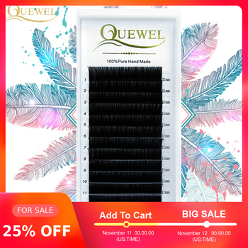 Quewel Eyelash Extension 12 Lines/Tray Silk Cilios Soft Professionals Individual Eye Lash Extensions C/CC/D Curl  False Lashes