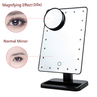 Adjustable 20 LED Lights Makeup Mirror Cosmetic Vanity Desk Stand Make Up Mirrors Rotatable with a 10X Magnifying Sucker Mirror