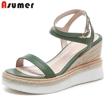 ASUMER 2020 new fashion wedges platform sandals ladies genuine leather shoes buckle fashion simple wedding casual shoes women
