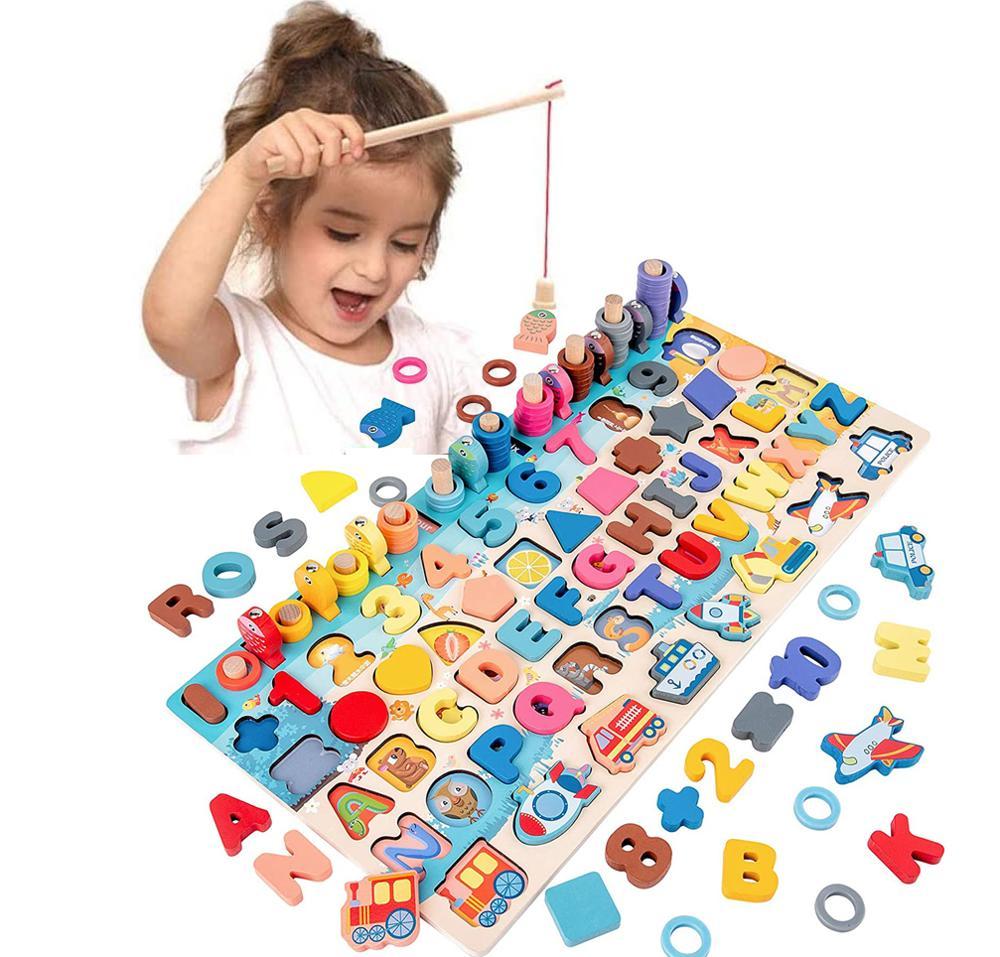 Обучающие деревянные игрушки Монтессори для детей, доска для игрушек по методу Монтессори, математические игрушки для рыбалки, Обучающие и...