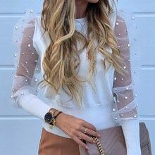 Mesh Women's Blouses Lace Puff Sleeve Fashion Elegant