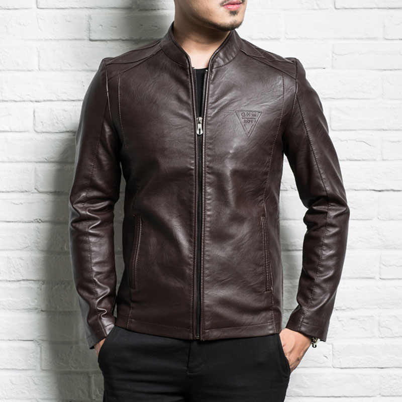 Men genuine leather jacket 2019 new spring and autumn slim zipper male split leather jacket teenager boy black brown P05