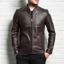 Chaqueta de cuero genuino para hombre 2019 nueva primavera y otoño chaqueta de cuero con cremallera delgada para hombre adolescente negro marrón P05
