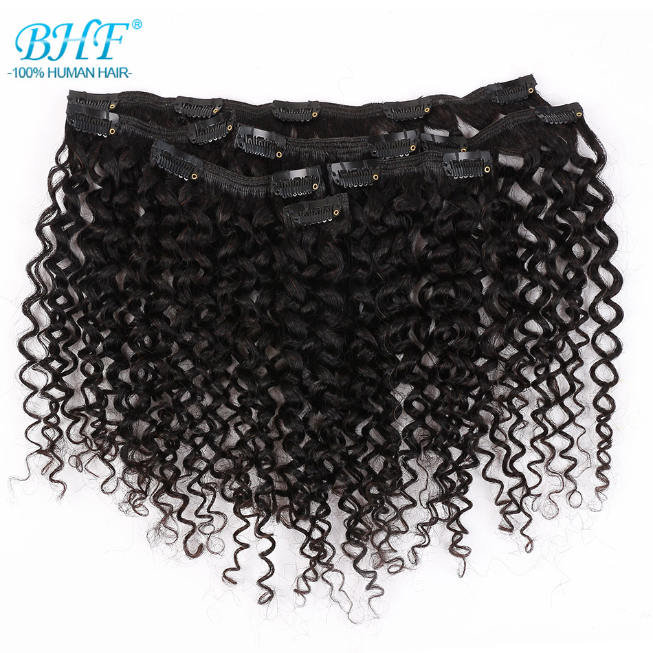 BHF Kinky Curly Weave Brazilian Machine Remy Hair Clip In Human Hair Extensions Natural Color Full Head 7 Pieces/set 85g