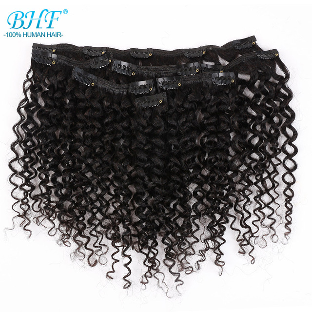 $ US $16.00 BHF Kinky Curly Weave Brazilian Machine Remy Hair Clip In Human Hair Extensions Natural Color Full Head 7 pieces/set 85g