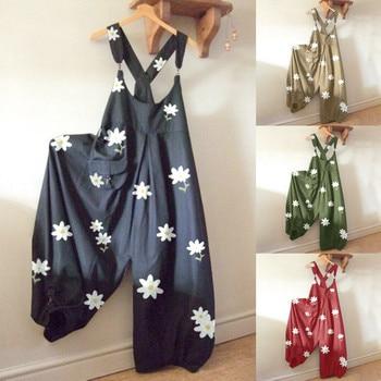30H Fashion Floral Print  Jump Suit Women O-Neck Daisy bodysuit women Rompers Pocket Playsuit Casual Long Jumpsuit Dropshipping 1