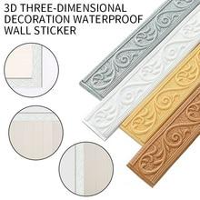 Wall Sticker Waistline Border Floor Stickers 3D Decorative Wall Lines Molding Trim For Kitchen Living Room Wall Border Wallpaper