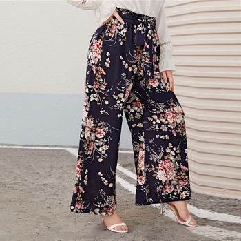 Plus Size Multicolor Paperbag Waist Floral Print Wide Leg Pants