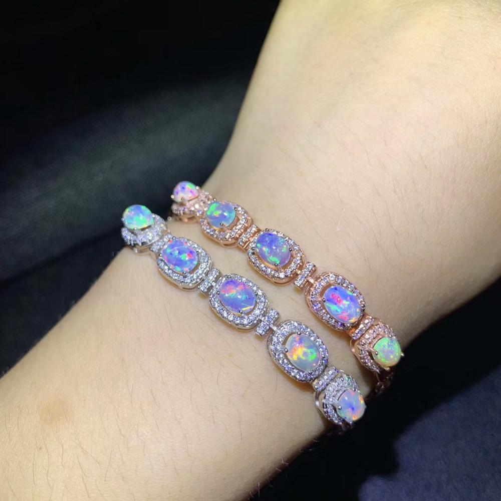 Natural Opal bracelet, 925 Sterling silver, the only gemstone in the world that changes color, seven-color light, rainbow